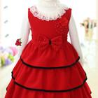 Нарядное, теплое, красивое Розовое и Красное платье с биретом для девочки