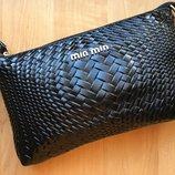 Женский кожаный клатч в стиле Miu Miu черный