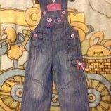 Полукомбинезон джинсовый на 1- 2 года