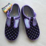Обувь для девочек, туфли,тапочки в горошек, размер 27,стелька 18 см.
