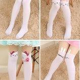 Модные капроновые колготки-чулки белый низ с Hello Kitty, кошечками и др. , р. 80-130см