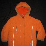 тёплая зимняя куртка на 5-6 лет, девочке, оранжевая