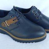 Туфли синие на мальчика на шнурках, Fashion, С6626-1, Тм Paliament , размеры 31, 32, 33, 34, 35, 3