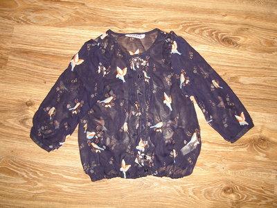 Шифоновая блузка с птичками на 11 лет от New look длина 46, ширина 36, рукав от плеча 36, 42 от горл