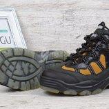 Термо ботинки кожаные Германия на мальчика черные с желтым Тм Jela