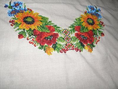 Платье вышитое бисером вишиванка